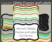 Glitter Labels and Frames Digital Clip Art clipart png files CU for digital scrapbooking, invites