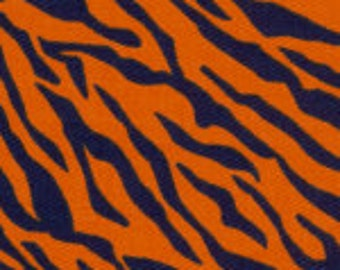 Fabric Finders Orange Navy Tiger Stripe