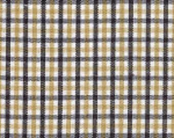 Fabric Finders Smaller Black and Gold Tri-Check Fabric