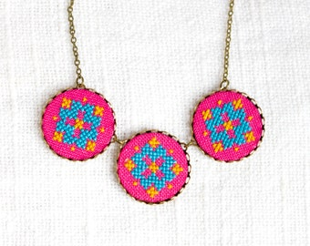 Pink ethnic necklace - cross stitch necklace - n079