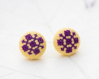 Ethnic stud earrings - bright purple and yellow e024