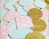 Party Confetti, Gold Glitter, Pink and Mint, Vintage Chic Wedding, Baby Shower Decoration, Girl's Birthday, Bridal Table Scatter, 300 Pieces