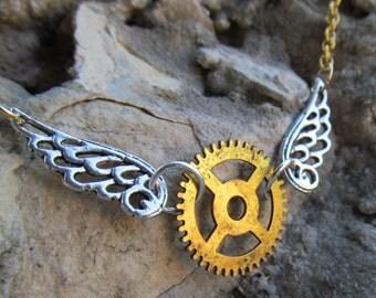Winged Clock Gear Steampunk Necklace Pendant Z