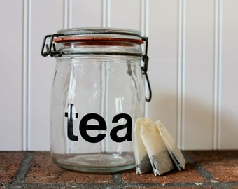 "Typographic ""tea"" canister jar kitchen jar air tight lid graphic modern"