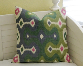 Schumacher Darya in Jewel Ikat Designer Pillow Cover - Square, Euro and Lumbar Sizes