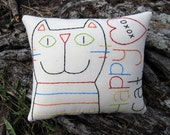 Happy Cat Pillow, Primitive Hand Embroidered Stitchery, Original Design, Colorful Unique Cat Lover Gift, Tabby Striped Kitty, XOXO, HAFAIR
