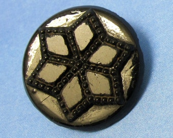 Black Victorian Button Antique Lily Of The Valley Flower Glass Floral Button 153