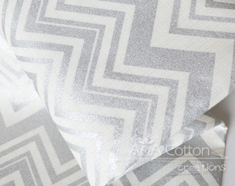 Chevron in Metallic Silver Print, Quilting Weight Cotton textile, Designed Cotton Fabric, Heavy Metal Collection, Camelot Design Studio