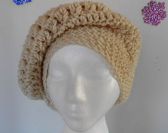 Slouchie Beanie Hat Cream color  Hand Made Crocheted by Kams-store.com