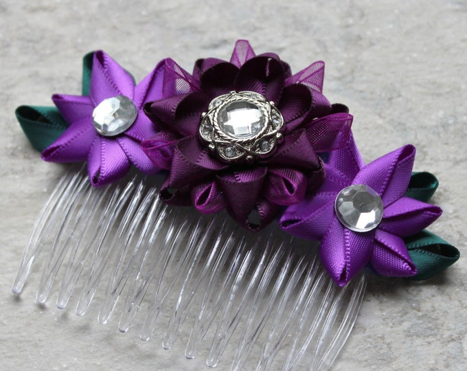 Purple Hair Comb, Purple Flower Comb, Deep Purple Hair Accessories, Purple Bridesmaid Hair Piece, Teal and Purple Wedding Hair Piece