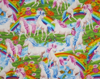 Colorful Unicorns and Rainbows Print Pure Cotton Fabric--One  Yard