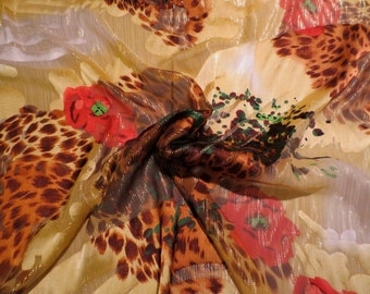 Yellow Brown and Red Animal and Floral Print Pure Silk with Metallic Burnout Chiffon Fabric--One Yard
