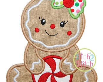 "Sitting Gingerbread Girl Applique,  Sizes 4x4, 5x7, & 6x10, shown with our ""Grandma's Garden"" Font NOT Included, INSTANT DOWNLOAD available"