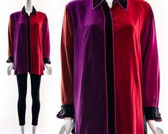 Vintage BOB MACKIE Minimalist Wearable Art COLORBLOCK Silk Blouse Avant Garde Jewel Tone Oversized Medium Large