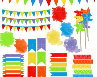 Rainbow Washi Tape Clip Art Pinwheel Banner Pendant Flag Watercolor Journal Spot  - Little Artist
