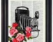 BOGO 1/2 OFF  Dictionary Art Prints Sheet Music Print Camera with Flowers A HHP Original Concept and Design Steampunk Print