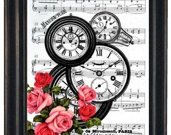 BOGO 1/2 OFF Dictionary Art Prints Sheet Music Clocks with Flowers  A HHP Original Concept and Design Steampunk Art Prints Wall Art