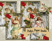 Victorian Christmas Cards Collage Digital Images printable download file