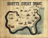 Antique Map - Scott's Great Snake - Civil War  Era - 1861