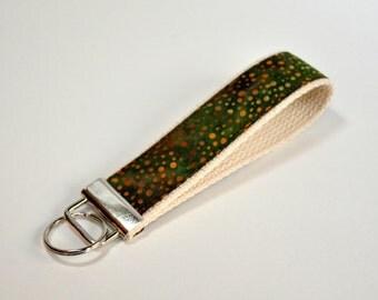 Key fob Keyfob wristlet  Key chain  green with orange splatters