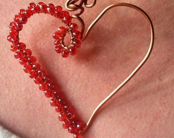 Copper Heart Necklace, Heart Jewelry, Wire sculpture jewelry
