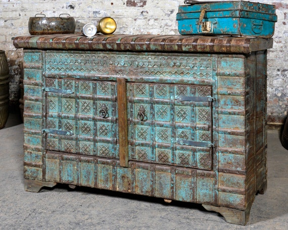 Antique Turquoise Blue Indian Wedding Chest Global Warm Industrial Storage Trunk Sideboard Console Media Console