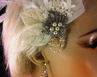 The Perfect Little Bridal Fascinator, Bridal Headpiece,  Bridal Hair Clip, Swarovski Crystals and Pearls, Great Gatsby, Ivory Hair Clip