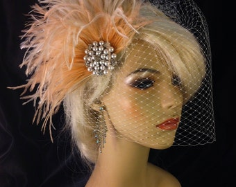 Ostrich Wedding Hair Clip, Wedding Fascinator, Wedding Headpiece, Wedding Veil, Ivory, Full Birdcage Veil, Blush and Ivory