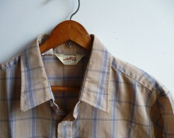 Vintage Tan Plaid Shirt by Levis Mens XL