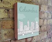 Columbus - Columbus Art - Columbus Ohio - Columbus Illustration Art - Ohio Art - Wood Block Wall Art Print - City Art
