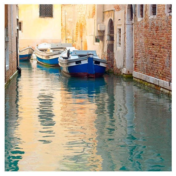 20x20, Venice, Fine Art Photography, Travel Photography, Italy, Canal, Water, Blue, Yellow, Wall Art