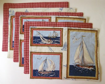 Pair of Reversible Placemats: Nautical Sailboat Frames with Red Plaid