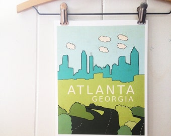 Atlanta, Georgia // Typographic Print, City Skyline, Digital Print, Travel Theme, Nursery Art, Kids Room Decor, Braves, Falcons
