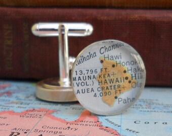 Map Cufflinks, Best Man, Groomsmen Gifts Sterling Silver Silver (.925)