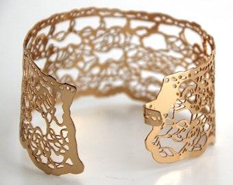 lace Rose gold bracelet,24 karat gold plated bracelet, Wide Lace cuff Bracelet