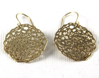 gold plated round earrings ,lacy rose round earrings, 24 karat yellow gold plated