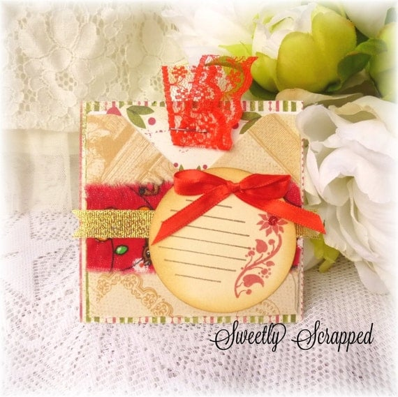 Christmas Pocket with Pull Out Tag, Square, Gift Card, Scrapbooking, Project Life, Pocket, Cardmaking, Poinsettia