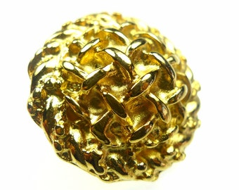 Gold tone metal button with one rhinestone round 1pc
