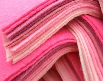 "Pinks 9X4.5"" Felt Sheets - 12 Sheets - Wool Blend Felt"