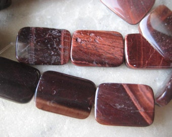 Red Tigereye Beads: Smooth Rectangular Natural Polished Genuine Semi-Precious Gemstones, 18x12mm, 21 pcs.