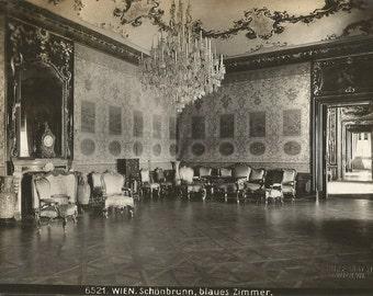 """Antique Photo Card, ca. 1920, Blaues-Zimmer (Blue Room), Schönbrunn Palace, Wien (Vienna), Austria, Bruno Reiffenstein, 6.5 x 4.5"""""""