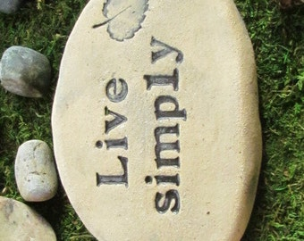 Live simply. Zen garden art, Zen stone. Minimalist style pottery. Meditate outdoors. Rustic natural home accent, garden ornament, sculpture