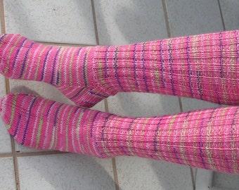Hand Knit Socks, Women, Girls, xtra long leg