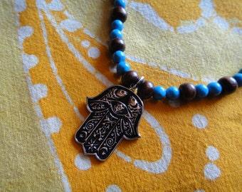 Hand of Hamsa Fatima Prayer Bead Necklace
