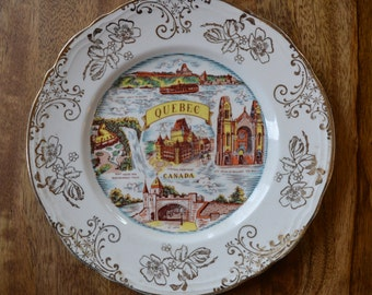Vintage Souvenir Plate - Quebec - Check out all of our vintage souvenir plates