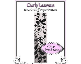 Bead Pattern Peyote(Bracelet Cuff)-Curly Leaves 2