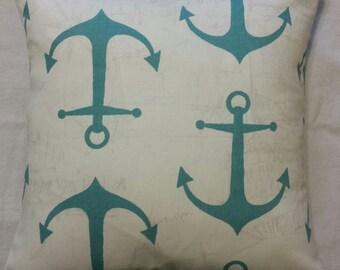 1 white turquoise blue green anchor beach sailor pillow cover sham Nautical cushions 18x18
