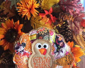 ON SALE - half off - Turkey door hanger - Fall Decoration - thanksgiving Decor - turkey Hanger - Fall wreath - Gobble Gobble