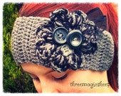 Crochet boho winter headband earwarmer headwrap - Adult size - grey black