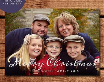 Modern Script PRINTABLE Customized Christmas Photo Card